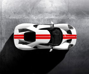Frozen-White-Ford-GT-Race-Red-Stripe-Overhead (1)