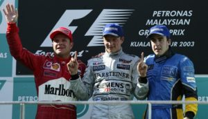Raikkonen, Alonso and Barrichello celebrate