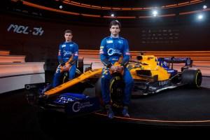 Lando Norris, Carlos Sainz with MCL34 2019 Launch event