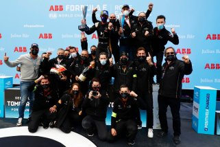 The DS Techeetah team celebrate on the podium