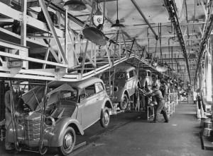 Endmontage Opel Kadett im Werk Rüsselsheim, 1938