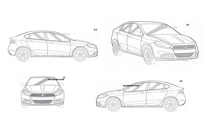 Dodge Dart hatchback, sfuggono i bozzetti industriali