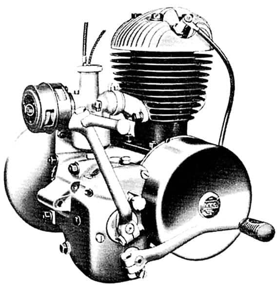 Villiersmotor 6E 197 cc. Boring 59 mm. Slag 72 mm. Carburator Villiers 4/5 dubbelkabel. Naald No. 4 1/2 verstelbaar. Sproeiermaat .081 Opening contactpunten 0,35 mm. Voorontsteking 4 mm voor het bovenste dodepunt. Bougie Lodge HH.14 14 mm kort. Opening elektroden van de bougie: 0,5 mm. Mengsmering 1 deel olie S.A.E. 30 op 16 delen benzine, of 320 cc olie op 5 liter benzine. Versnellingsbakolie S.A.E. 140, in de winter S.A.E. 90 of bij hevige koude 80. Olie kettingkast S.A.E. 140, in de winter 90 of bij hevige koude 80. De versnellingsbak is van het constant-meshtype.