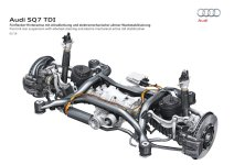 Five link rear suspension with allwheel steering and electro-mechanical active roll stabilization
