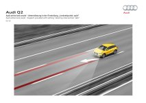 """© Audi AG / Der neue Audi Q2 / Audi active lane assist - Support provided with setting """"steering intervention: late"""""""