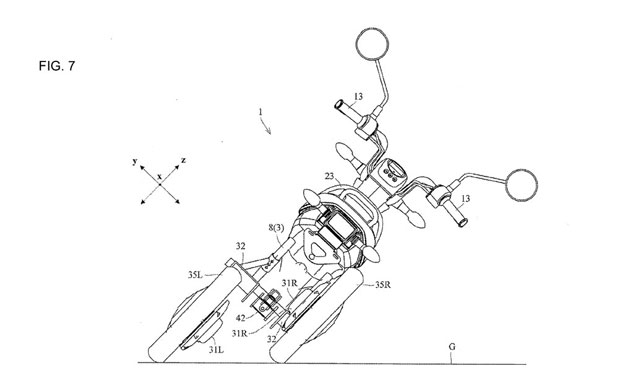 Yamaha files patents for a scooter that has two leaning