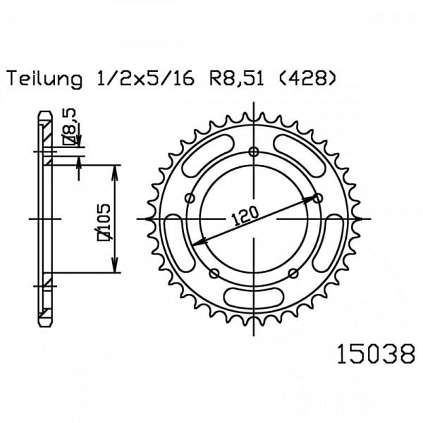 Kettenrad 60Z Teilung 428 schwarz Innendurchmesser 105