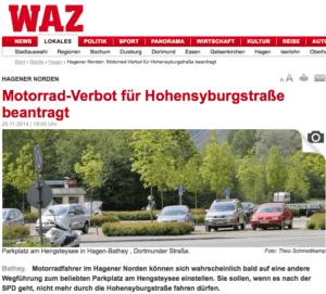 Die WAZ berichtet über eine SPD-Initiative in Hagen, zur Förderung der Lebnsqualität.