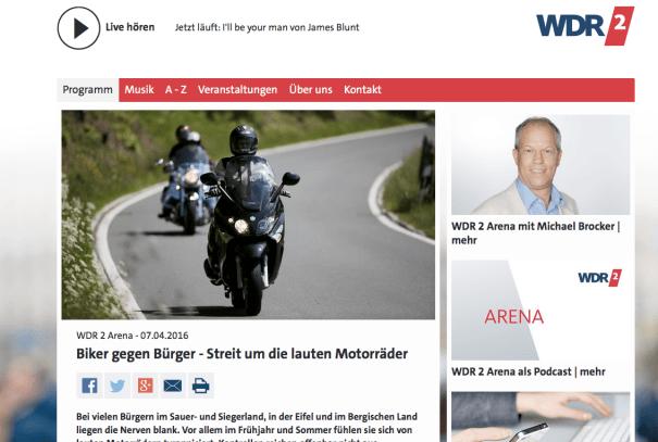 Biker gegen Bürger – Live-Diskussion im WDR.