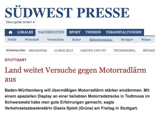Die Südwest Presse berichtet über Versuch in Baden-Württemberg.