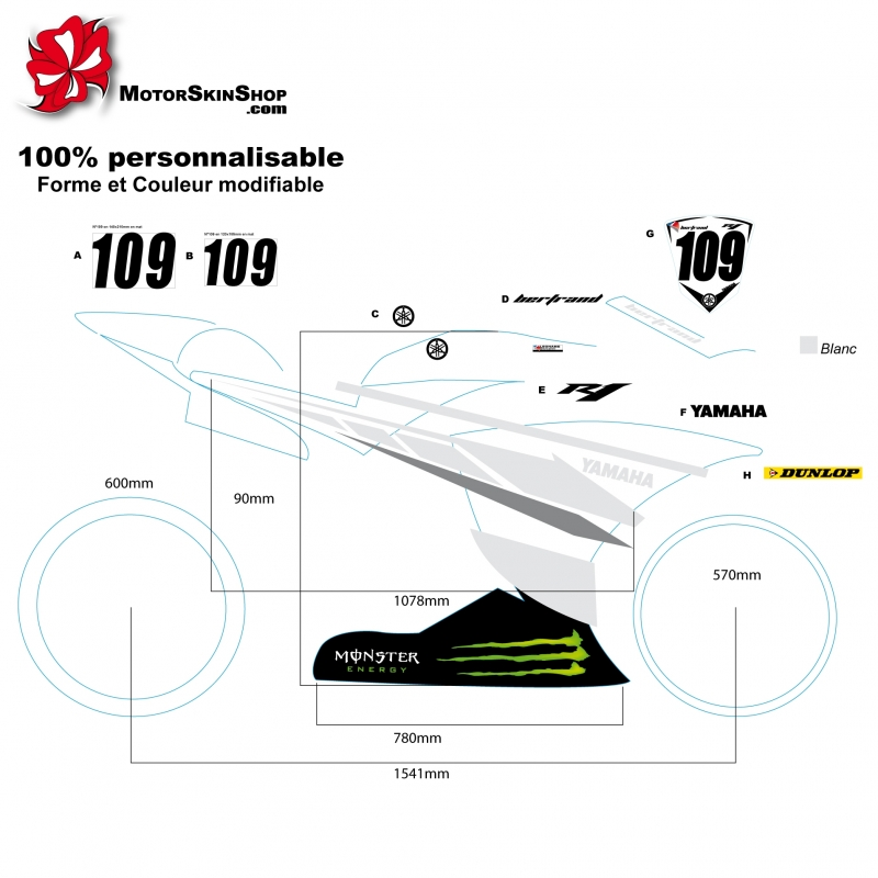 sticker autocallant R1 Yamaha sportive moto