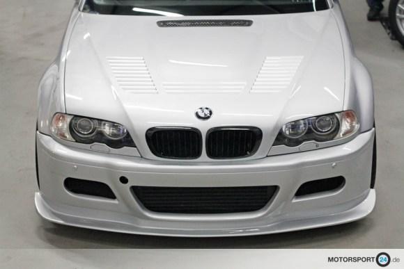 Silberne Motorhaube BMW M3 E46