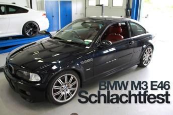 BMW M3 E46 carbonschwarz steht in der Werkstatt