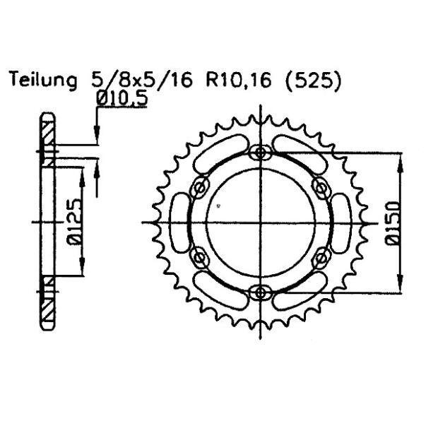 Kettenrad 45 Zähne KTM Adventure 950, 990, 1190, Super