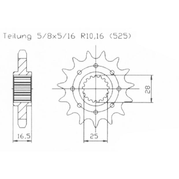 Ritzel Tuning 16 Zähne KTM LC8 950, 990, 1190, Superduke R