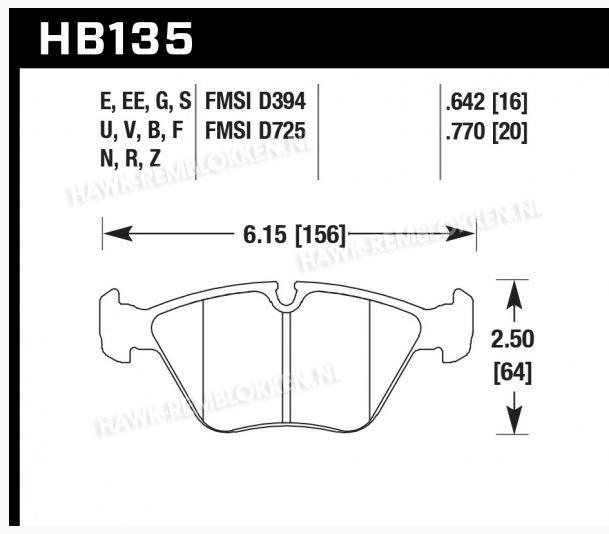 Hawk HT10 Voorzijde HB135F.760 (M3) E36 E46
