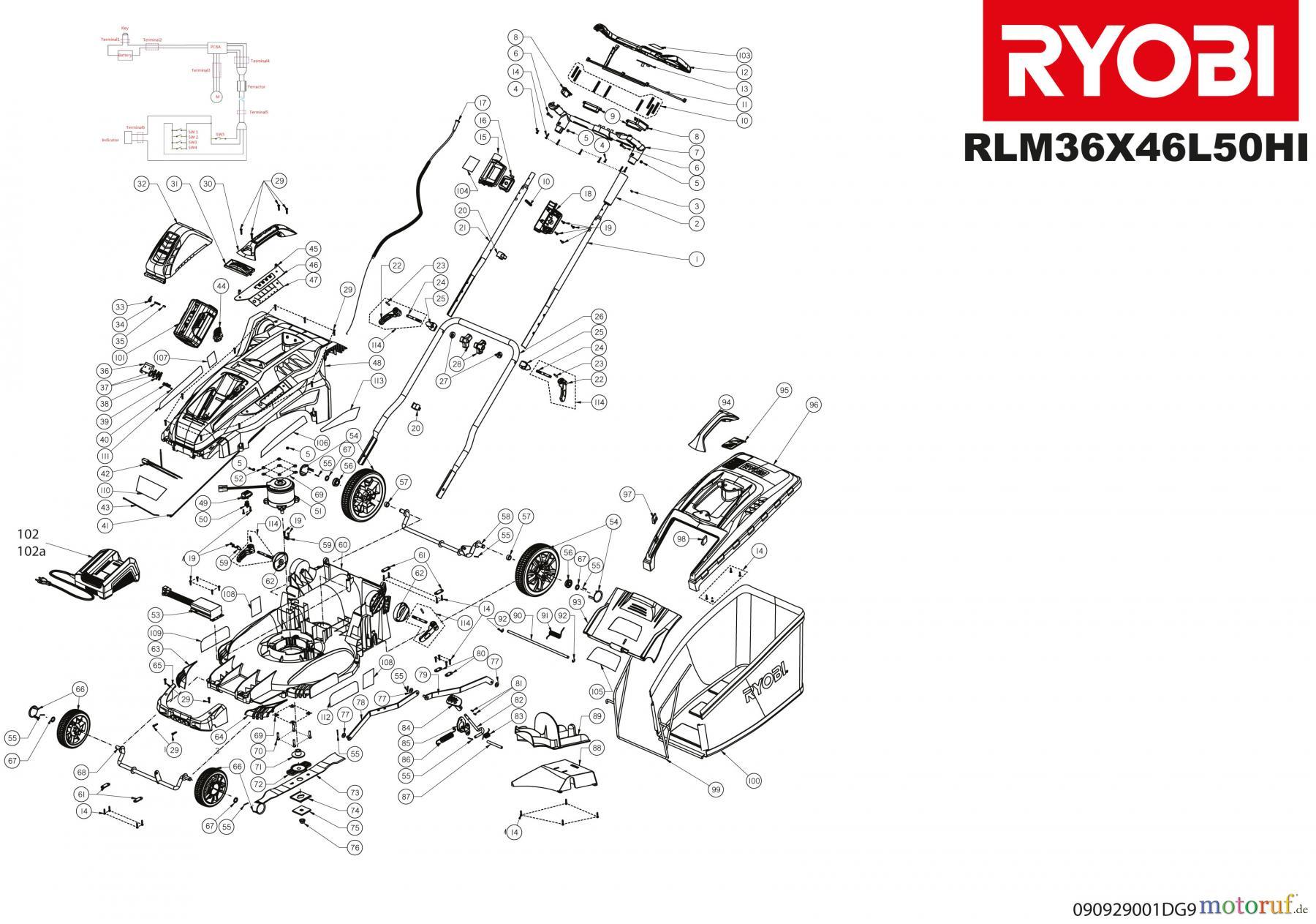 Ryobi Rasenmäher Akku RLM36X46L50HI Spareparts