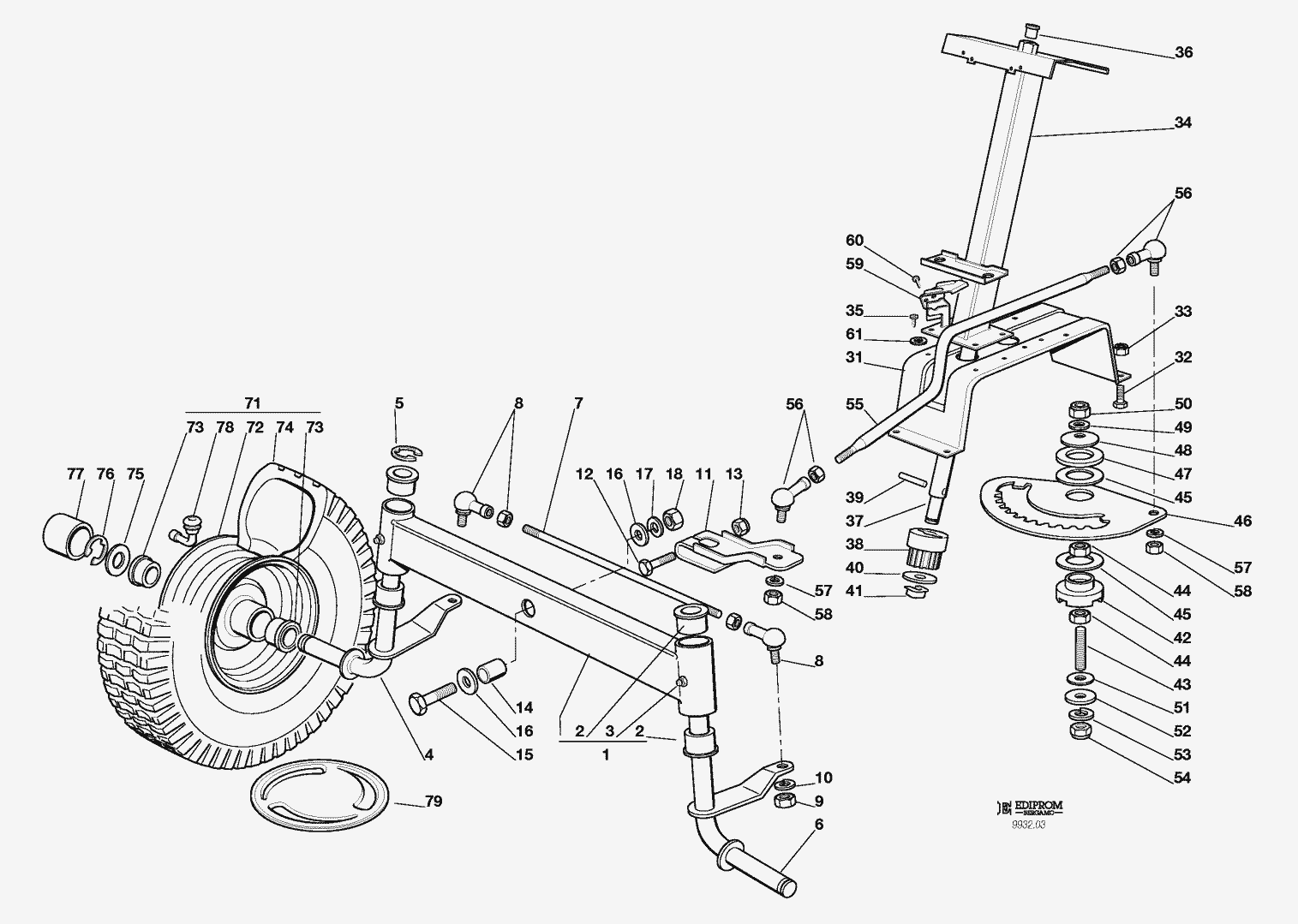Spare Parts Lists for Solo Lawn Mower STEERING
