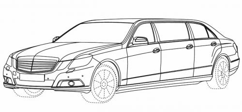 Mercedes Benz E-Class stretch limo sketches