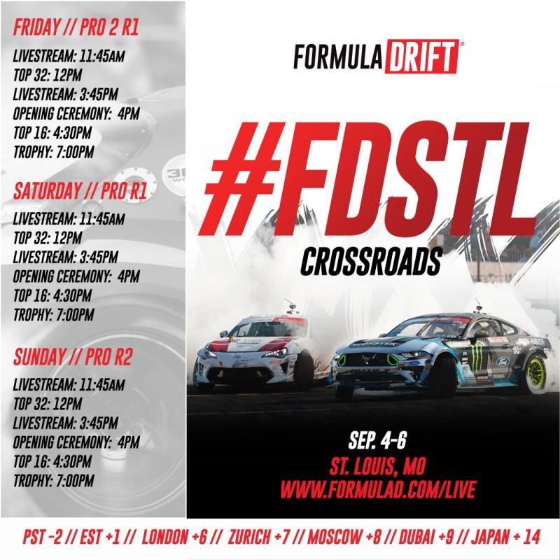 Formula Drift 2020 St Louis Livestream schedule