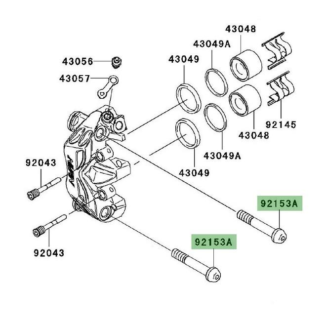 Vis fixation étrier de frein avant Z1000 (2007-2009