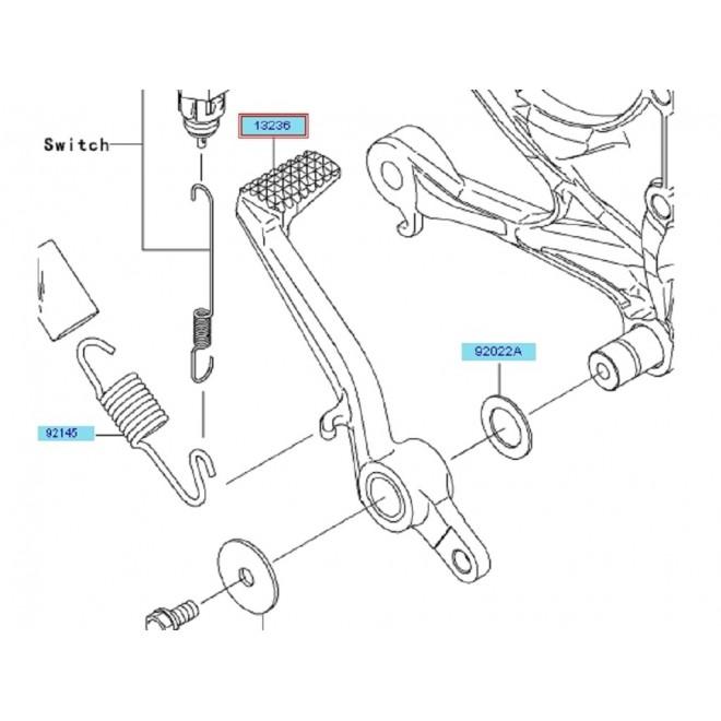 Achat pedale frein arriere kawasaki zx6r 132360135