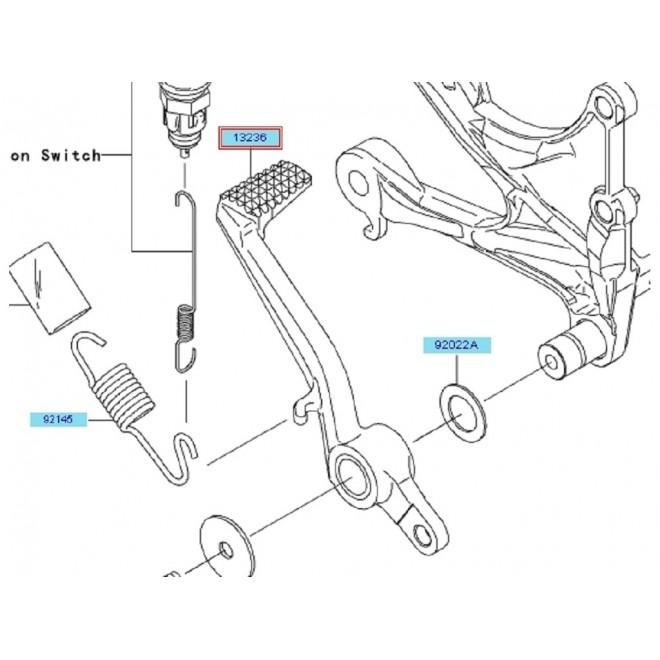 Achat pedale frein arriere kawasaki zx6r 132360111