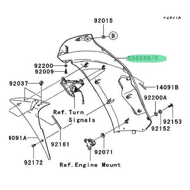 Achat flanc de carenage droit er6f 2006 noir KAWASAKI