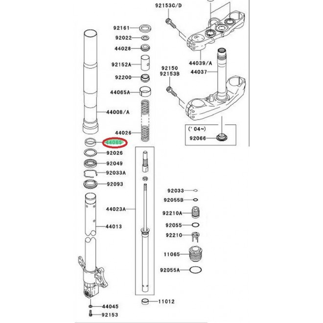 Achat bague de friction inferieur 440650001 KAWASAKI