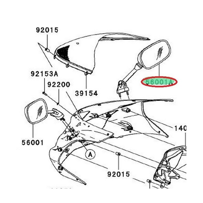 Achat retroviseur droit zx6r 560010085 KAWASAKI MOTOSHOP 35