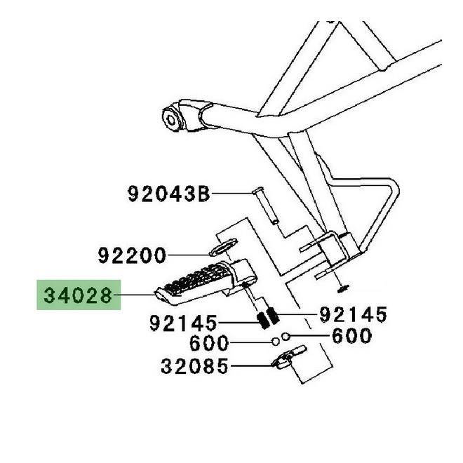 Repose-pieds arrière Kawasaki Versys 650 (2007-2009