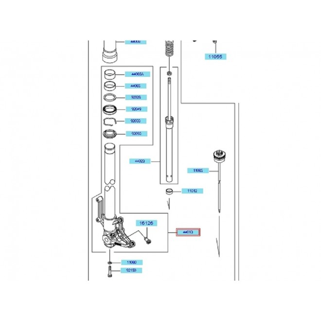 Achat tube de fourche droit zx6r 44013007218r KAWASAKI