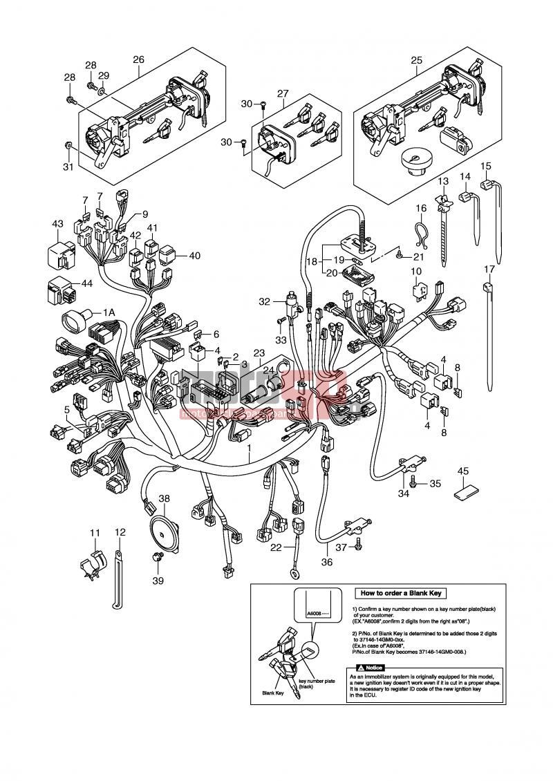 medium resolution of suzuki an650a e2 abs burgman 2009 electricalwiring harness an650ak6 ak7