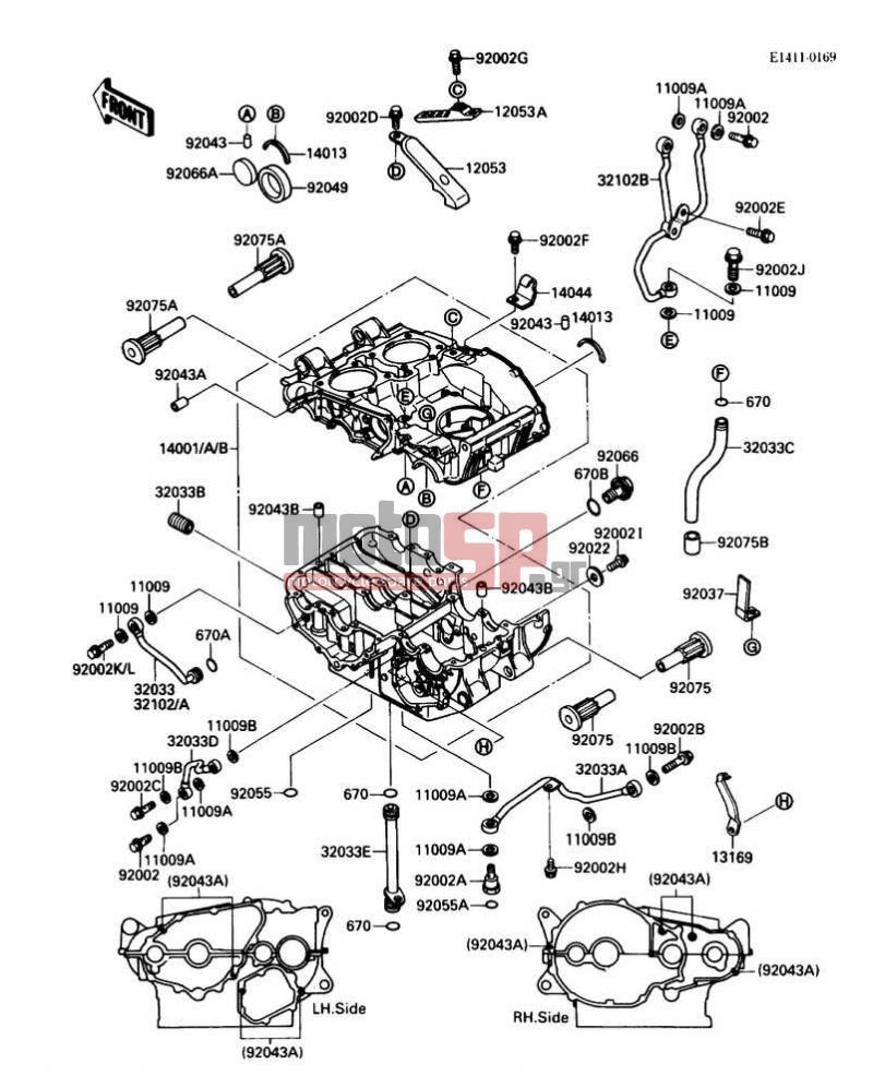 medium resolution of motosp kawasaki 454 ltd 1987 engine transmission crankcase 1987 454 kawasaki engine diagram