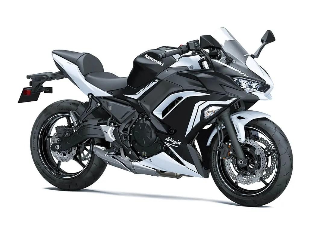 White & Black Kawasaki Ninja 650