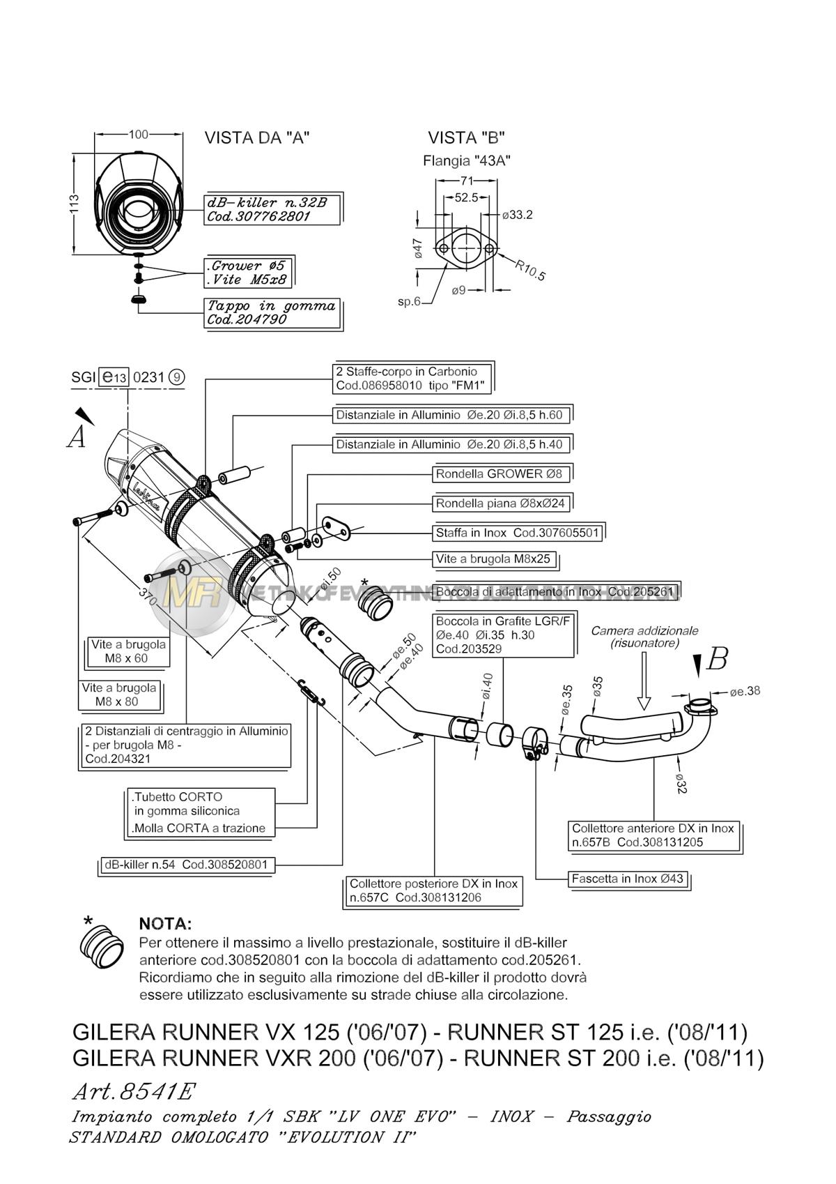 GILERA RUNNER 125 ST 2008 08 FULL SYSTEM EXHAUST HEADER