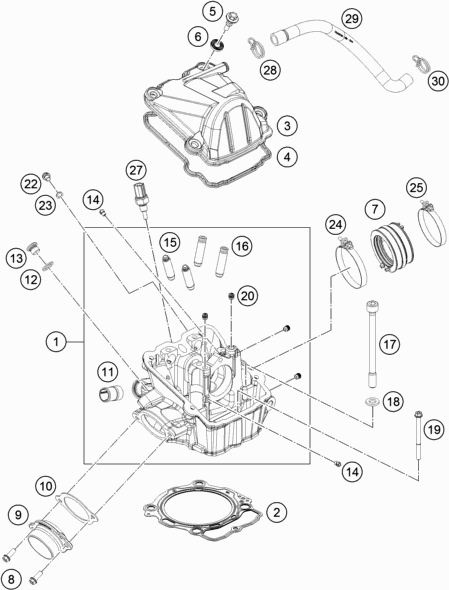 2017 KTM 500 EXC-F CYLINDER HEAD Parts Diagram