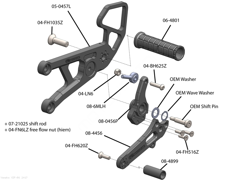 Adjustable Rearsets by Woodcraft Yamaha / YZF-R6 / 2017