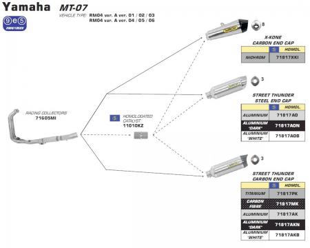 Yamaha FZ-07 / MT-07 Thunder Full System Exhaust by Arrow