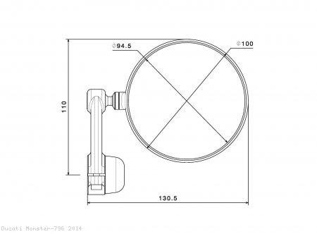 Rizoma SPY-ARM 94 Bar End Mirror Ducati / Monster 796