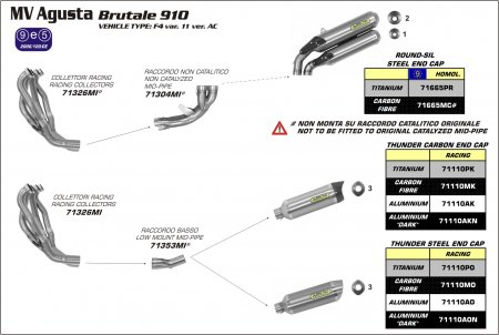 Arrow Thunder Low Mount Exhaust System (71110+71353MI)