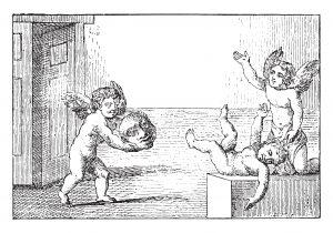 Fig. P. Enfant ayant trouvé la tête de Michel Platini. Allégorie. Musée Panini.