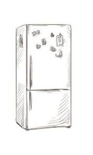 Fig. D. Modernes magnets sur un réfrigérateur. XXᵉ siècle.