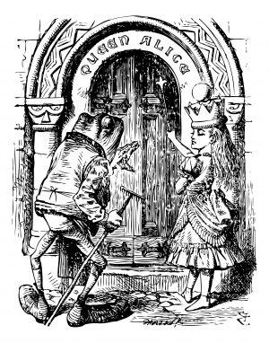 Fig. A. Alice rencontrant son prince charmant encore caché sous les traits d'une grenouille.