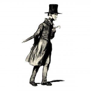 Fig. A. Barbouze arpentant le pavé. Détail : parapluie bulgare.