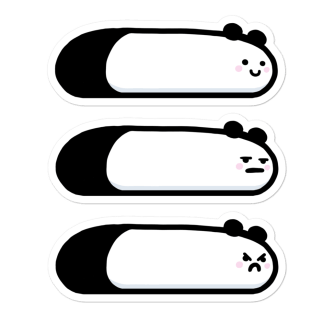 Pack 3 stickers Pandas limace