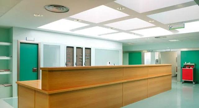 Empty doctors office reception area