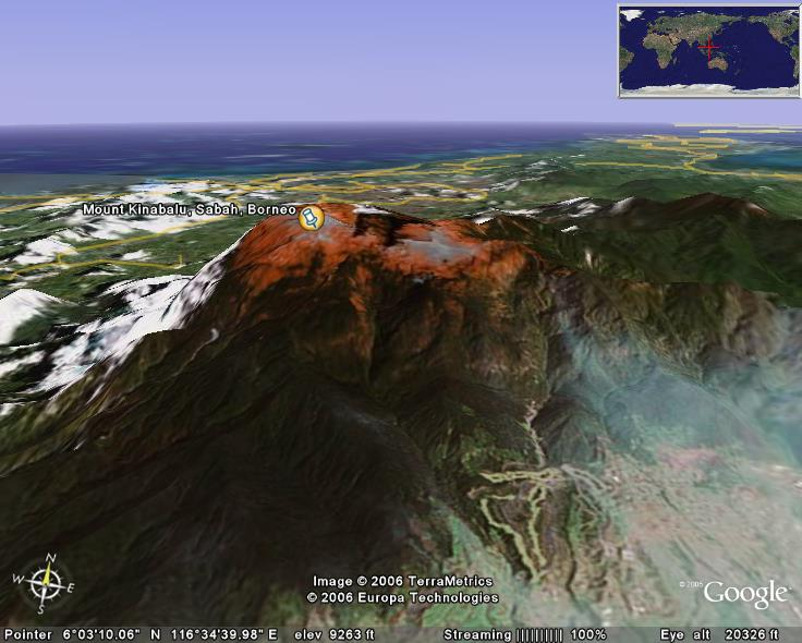 Mount Kinabalu on Google Earth