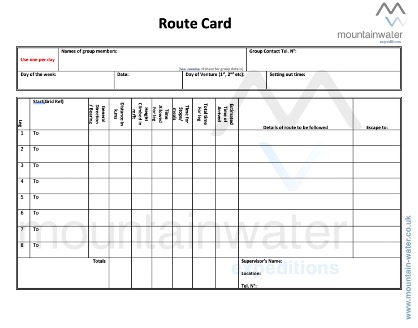 Example of a blank route card