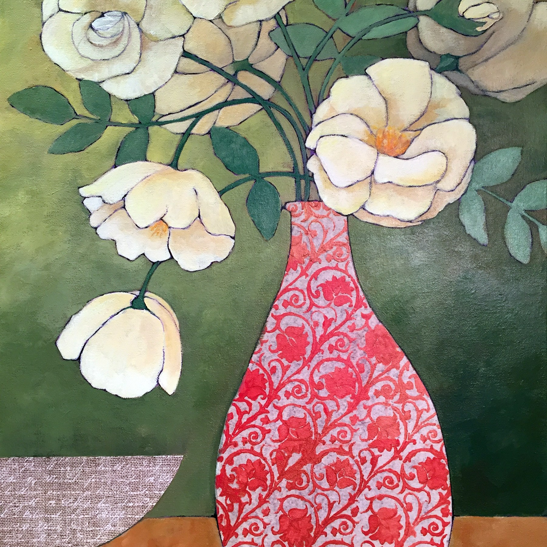 Roses In A Red Vase - Johanna McCormick